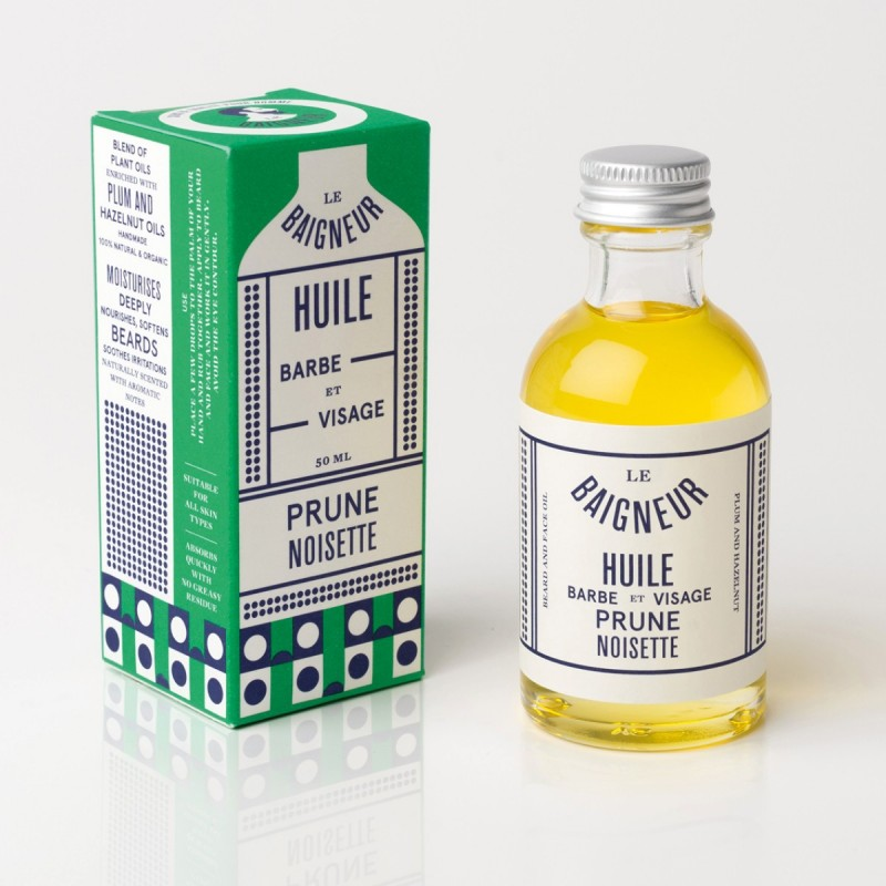 Le Baigneur - Huile Visage et Barbe pour homme - Noisette - Vegan, Bio et Fabriqué en France - Select Store Cosmétiques