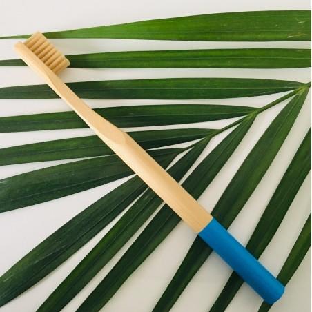 Brosse à Dent Souple en Bambou. Bleu. Biodégradable, Ecologique, Végan.