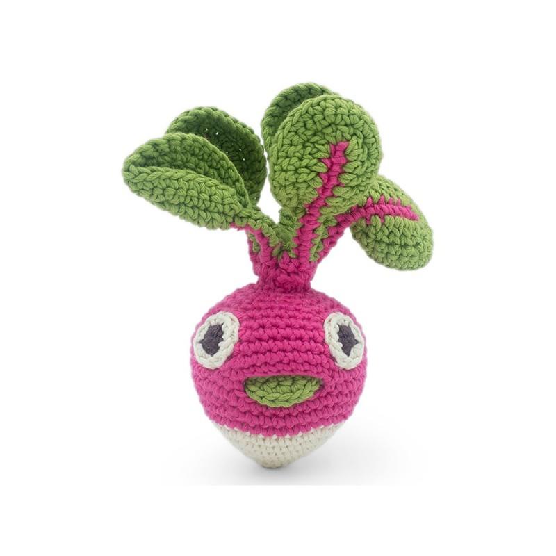Myum - Veggie Toys - Hochet Louie le Radis Rond - Bio & Vegan - Select store éthique Cosmétiques Vegans