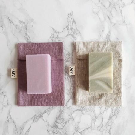 APO - Pochon à savon de transport pour savon solide en Lin enduit - Zéro déchet - Select store éthique Cosmétiques Vegans