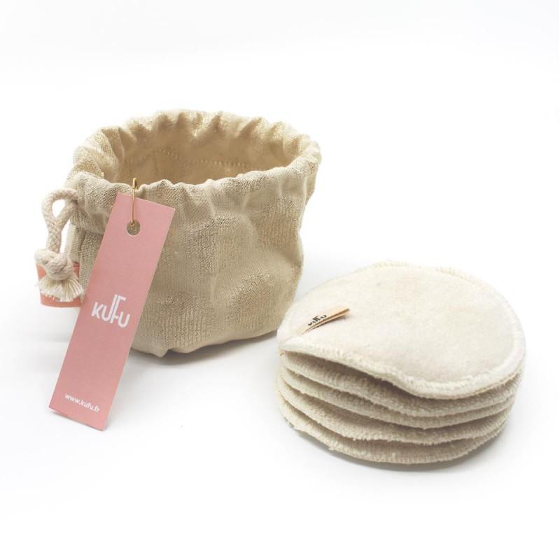 Kufu - Bourse de 5 cotons bio lavables - Nature Doré - Vegan, Bio & Made in France - Select store éthique Cosmétiques Vegans
