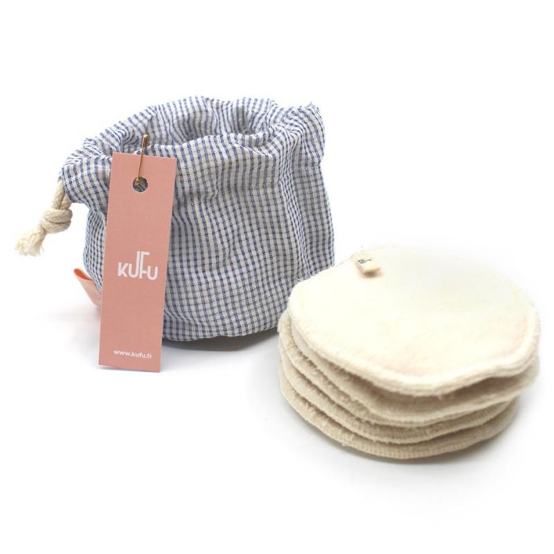 Kufu - Bourse de 5 cotons bio lavables - Vichy Joly - Vegan, Bio & Zéro déchet - Select store éthique Cosmétiques Vegans
