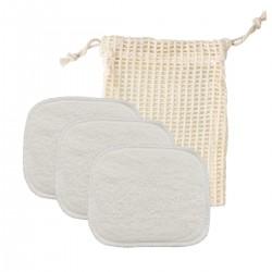 Avril - Coffret Grands carrés lavables bébé x 3 & Filet de Lavage - Zéro déchet & Bio - Select Store Cosmétiques Vegans