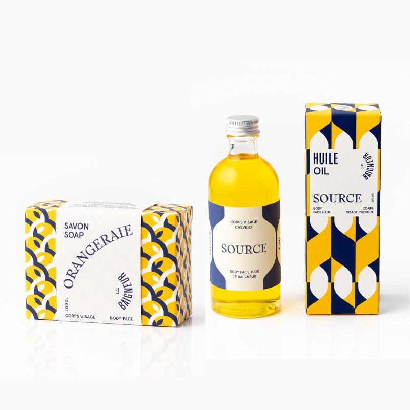 Le Baigneur - Coffret cadeau - Savon Solide Orangeraie & Huile Multi-Usage Source - Vegan - Select Store Cosmétiques