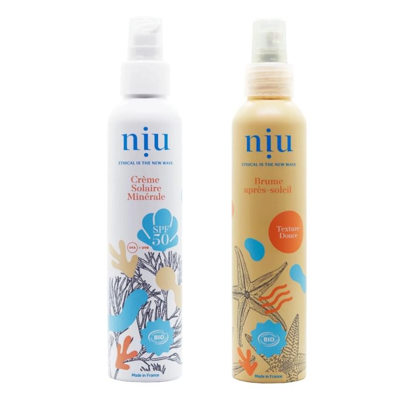 NIU & You - Duo Crème solaire SPF 50 et après - solaire Vegan, Naturelle & Bio - Select store éthique Cosmétiques Vegans
